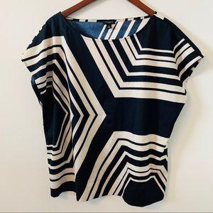 Ann Taylor Striped Blouse Boxy Top Size 14